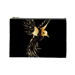 Beautiful Bird In Gold And Black Cosmetic Bag (large)  by FantasyWorld7
