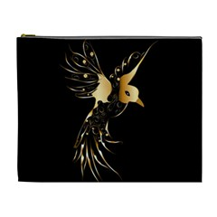 Beautiful Bird In Gold And Black Cosmetic Bag (xl)