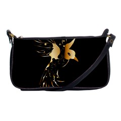 Beautiful Bird In Gold And Black Shoulder Clutch Bags by FantasyWorld7