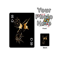 Beautiful Bird In Gold And Black Playing Cards 54 (mini)  by FantasyWorld7