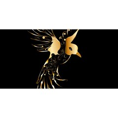 Beautiful Bird In Gold And Black You Are Invited 3d Greeting Card (8x4)  by FantasyWorld7