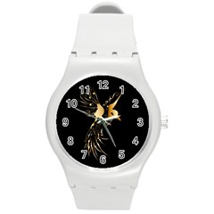 Beautiful Bird In Gold And Black Round Plastic Sport Watch (m)