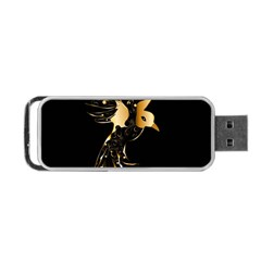 Beautiful Bird In Gold And Black Portable Usb Flash (two Sides)