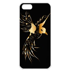 Beautiful Bird In Gold And Black Apple Iphone 5 Seamless Case (white)