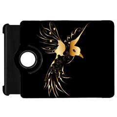 Beautiful Bird In Gold And Black Kindle Fire Hd Flip 360 Case