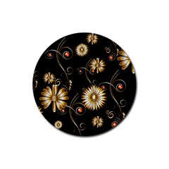Golden Flowers On Black Background Rubber Round Coaster (4 Pack)  by FantasyWorld7