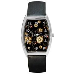 Golden Flowers On Black Background Barrel Metal Watches by FantasyWorld7