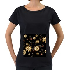 Golden Flowers On Black Background Women s Loose-Fit T-Shirt (Black) by FantasyWorld7