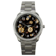 Golden Flowers On Black Background Sport Metal Watches by FantasyWorld7