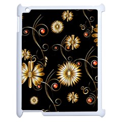 Golden Flowers On Black Background Apple Ipad 2 Case (white) by FantasyWorld7