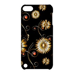 Golden Flowers On Black Background Apple iPod Touch 5 Hardshell Case with Stand by FantasyWorld7
