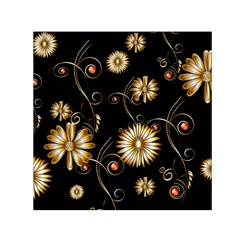 Golden Flowers On Black Background Small Satin Scarf (square)  by FantasyWorld7