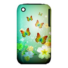 Flowers With Wonderful Butterflies Apple iPhone 3G/3GS Hardshell Case (PC+Silicone) by FantasyWorld7