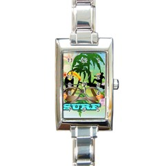 Surfing Rectangle Italian Charm Watches by FantasyWorld7