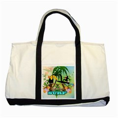 Surfing Two Tone Tote Bag  by FantasyWorld7