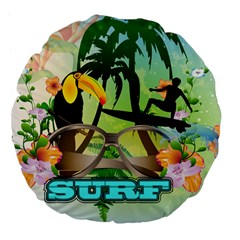 Surfing Large 18  Premium Flano Round Cushions by FantasyWorld7