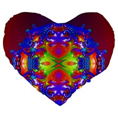 Abstract 6 Large 19  Premium Flano Heart Shape Cushions by icarusismartdesigns