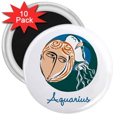 Aquarius Star Sign 3  Magnets (10 Pack)  by theimagezone