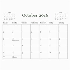 2016 Calendar By Julia Oct 2016
