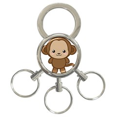 Kawaii Monkey 3 Ring Key Chains by KawaiiKawaii