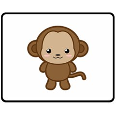 Kawaii Monkey Fleece Blanket (medium)  by KawaiiKawaii