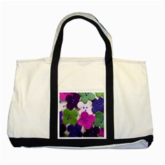 Cotton Flower Buttons  Two Tone Tote Bag