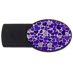 Sparkling Hearts Blue Usb Flash Drive Oval (2 Gb)  by MoreColorsinLife