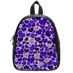 Sparkling Hearts Blue School Bags (small)  by MoreColorsinLife