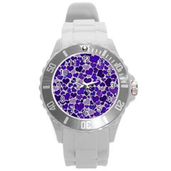 Sparkling Hearts Blue Round Plastic Sport Watch (l) by MoreColorsinLife