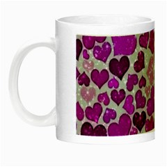 Sparkling Hearts Purple Night Luminous Mugs by MoreColorsinLife