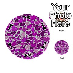 Sparkling Hearts Purple Playing Cards 54 (round)