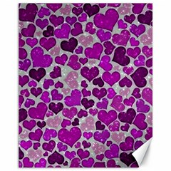 Sparkling Hearts Purple Canvas 11  x 14   by MoreColorsinLife