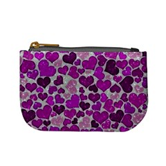 Sparkling Hearts Purple Mini Coin Purses
