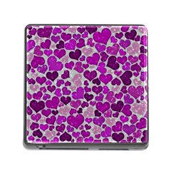 Sparkling Hearts Purple Memory Card Reader (Square) by MoreColorsinLife