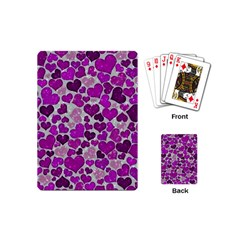 Sparkling Hearts Purple Playing Cards (mini)  by MoreColorsinLife