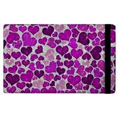 Sparkling Hearts Purple Apple Ipad 2 Flip Case by MoreColorsinLife