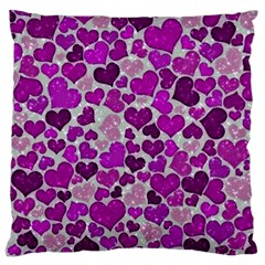Sparkling Hearts Purple Large Flano Cushion Cases (two Sides)  by MoreColorsinLife