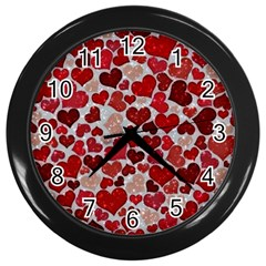 Sparkling Hearts, Red Wall Clocks (black) by MoreColorsinLife
