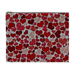 Sparkling Hearts, Red Cosmetic Bag (xl) by MoreColorsinLife