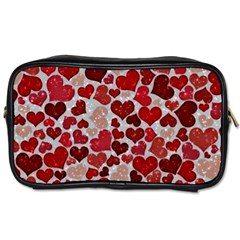 Sparkling Hearts, Red Toiletries Bags 2 Side by MoreColorsinLife