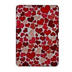 Sparkling Hearts, Red Samsung Galaxy Tab 2 (10.1 ) P5100 Hardshell Case  by MoreColorsinLife