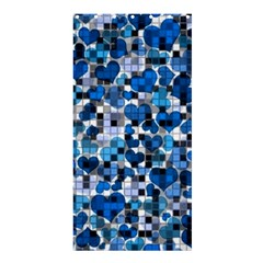 Hearts And Checks, Blue Shower Curtain 36  X 72  (stall)  by MoreColorsinLife