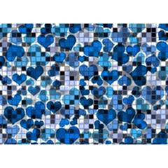 Hearts And Checks, Blue Birthday Cake 3d Greeting Card (7x5)