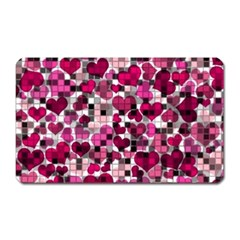 Hearts And Checks, Pink Magnet (Rectangular) by MoreColorsinLife
