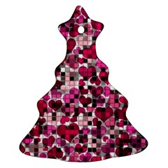 Hearts And Checks, Pink Ornament (christmas Tree)