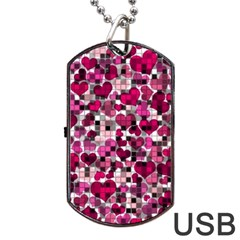 Hearts And Checks, Pink Dog Tag USB Flash (Two Sides)  by MoreColorsinLife