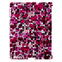 Hearts And Checks, Pink Apple iPad 3/4 Hardshell Case (Compatible with Smart Cover) by MoreColorsinLife