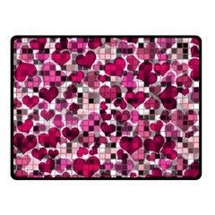 Hearts And Checks, Pink Double Sided Fleece Blanket (Small)  by MoreColorsinLife