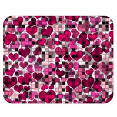 Hearts And Checks, Pink Double Sided Flano Blanket (Medium)  by MoreColorsinLife