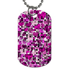 Hearts And Checks, Purple Dog Tag (two Sides) by MoreColorsinLife